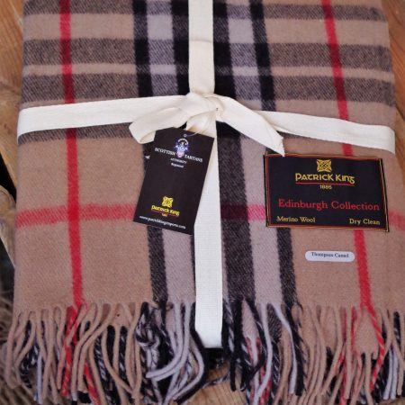 Deluxe Highland Collection Thompson Camel Blanket