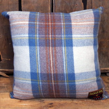 Cushions Stewart Muted Blue Deluxe Fine Merino Wool Cushion with Zipper