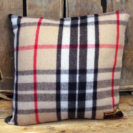 Cushions Thompson Camel Tartan Deluxe Fine Merino Wool Cushion with Zipper