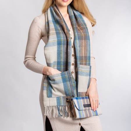 Pocket Scarf Stewart Muted Blue Tartan Merino Wool Pocket Scarf