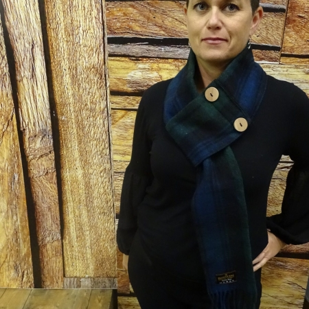 Button Scarf Black Watch Tartan Merino Wool Button Scarf