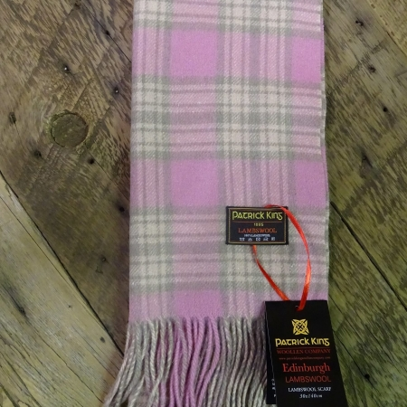 Pink Green Check Lambswool Scarf