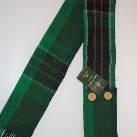 Button Scarf Spirit of Ireland Tartan Merino Wool Button Scarf