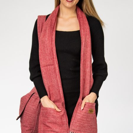 Herringbone Pocket Scarf Herringbone Maroon Pocket Scarf