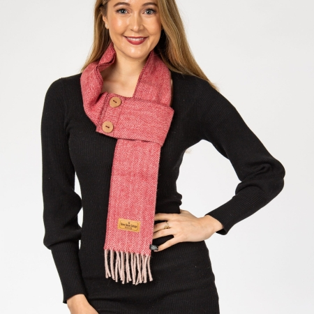 Herringbone Button Scarf Herringbone Sugar Plum Button Scarf